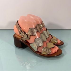 Marc Fisher Omalla Sandal Metallic Block Heel Shoe